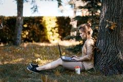 Junge Studentin, die mit Laptop unter Baum im Park sitzt stockfotos