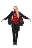 Junge Studentin mit dem Rucksack lokalisiert Stockfoto
