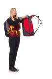 Junge Studentin mit dem Rucksack lokalisiert Stockfotografie