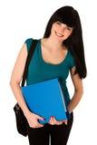Junge Studentin mit Schultasche und Ordner lokalisiert Lizenzfreie Stockfotos