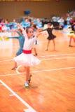 Junge Tänzer, die dem 18. Wettbewerb Guangdongs Dancespots Chamionship sich anschließen Lizenzfreies Stockfoto