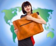 Junge touristische Frau mit Gepäck Lizenzfreie Stockfotos