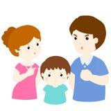 Junge traurig von kämpfender Problemillustration des Elternteils Stockfoto