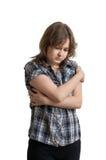 Junge traurige deprimierte Frau lokalisiert auf weißem Hintergrund Lizenzfreies Stockbild