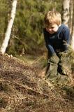 Junge und Ameisenhaufen lizenzfreies stockbild
