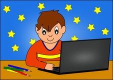 Junge und Computer Lizenzfreies Stockfoto