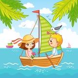 Junge und ein Mädchen segeln auf ein Segelboot auf dem Meer stock abbildung
