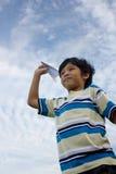 Junge und Flugzeug Stockbilder