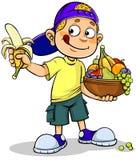 Junge und Früchte stock abbildung