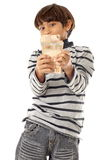 Junge und Geld Stockbild