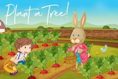 Junge und Häschen im Gemüsegarten und in der Phrase pflanzen einen Baum lizenzfreie abbildung