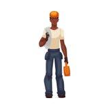 Junge und hübsche afrikanische Arbeitskraft in voller Länge mit einem Werkzeugkasten Stockfoto