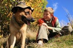 Junge und Hundâ sonniger Fall Stockfotos