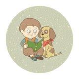 Junge und Hund lizenzfreie abbildung
