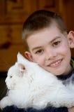 Junge und Katze Stockbilder