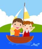 Junge und Mädchen lizenzfreie abbildung