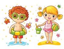 Junge und Mädchen auf dem Strand lizenzfreie abbildung