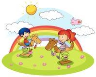 Junge und Mädchen auf Schaukelpferd vektor abbildung