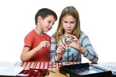 Junge und Mädchen betrachten Münzsammlung als lokalisiert lizenzfreie stockfotos