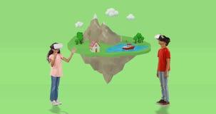 Junge und Mädchen, das Kopfhörer der virtuellen Realität mit digital erzeugten Reiseikonen 4k verwendet vektor abbildung