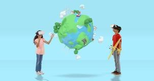 Junge und Mädchen, das Kopfhörer der virtuellen Realität mit digital erzeugten Reiseikonen 4k verwendet stock video footage