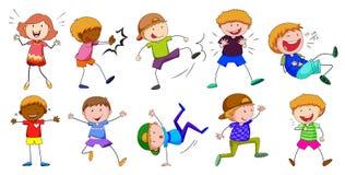 Junge und Mädchen in den verschiedenen Haltungen Lizenzfreie Stockbilder