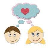 Junge und Mädchen, die über Liebe träumen lizenzfreie abbildung
