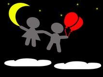 Junge und Mädchen, die in den Himmel nachts schwimmen Lizenzfreie Abbildung