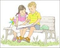 Junge und Mädchen, die ein Buch lesen vektor abbildung