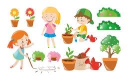 Junge und Mädchen, die Gartenarbeit erledigen vektor abbildung
