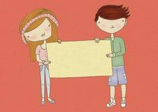 Junge und Mädchen, die Zeichen halten Stockfotos
