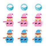 Junge und Mädchen-Einfrieren und Kälte Stockbilder