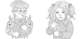Junge und Mädchen Farbtonseiten Malbuch für Erwachsene Färbungsbilder mit den Kindern und Vieh gezeichnet in zentangle Art vektor abbildung