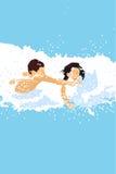 Junge und Mädchen im Wasser Lizenzfreie Stockfotos