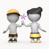 Junge und Mädchen mit Abbildung der Blume 3D stockfoto
