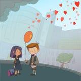 Junge und Mädchen mit Ballon Stockfoto