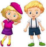 Junge und Mädchen mit dem blonden Haar lizenzfreie abbildung