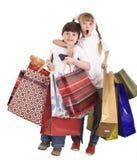 Junge und Mädchen mit Einkaufstasche. Stockfoto