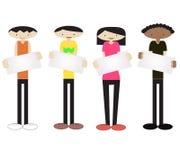 Junge und Mädchen mit Zeichen Lizenzfreies Stockbild