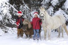 Junge und Mädchen mit Pferden Stockfotografie