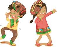 Junge und Mädchen mit Schablone Lizenzfreie Stockfotos