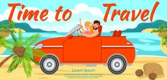 Junge und Mädchen reisen mit dem Auto zum Meer lizenzfreie abbildung