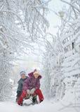 Junge und Mädchen am Sledging durch Snowy Stockfotografie