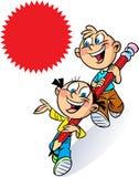 Junge und Mädchen tragen einen Bleistift Stockfotos