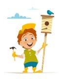 Junge und Nistkasten mit Vogel Stockbilder