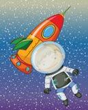 Junge und Rakete stock abbildung