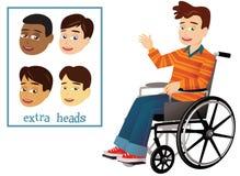 Junge und Rollstuhl lizenzfreie abbildung
