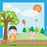 Junge und rosafarbenes Kaninchen Lizenzfreie Stockfotos