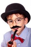 Junge und Schnurrbart stockfoto