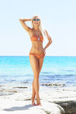 Junge und sexy Frau in einem Bikini auf dem Strand Stockbilder